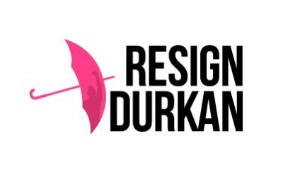 "Resign Durkan logo. Text is ""Resign Durkan"" with a pink umbrella superimposed with a protester raising their fist."